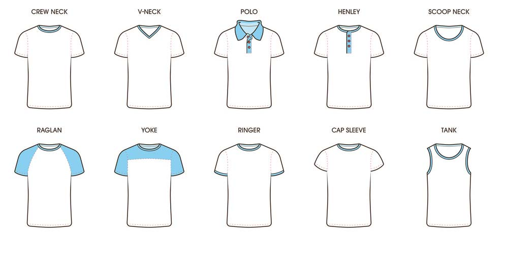 انواع یقه تی شرت